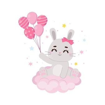 Słodki króliczek siedzi na chmurze i trzyma balony płaski wektor kreskówka projekt