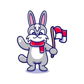 Słodki króliczek świętujący dzień niepodległości indonezji