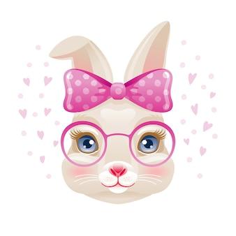Słodki króliczek. twarz dziewczyny królik w różowe okulary i łuk. kreskówka zwierząt.