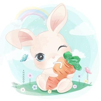 Słodki króliczek wisi sok z marchwi