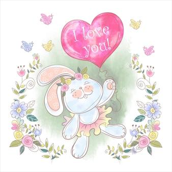 Słodki króliczek z balonem w kształcie serca