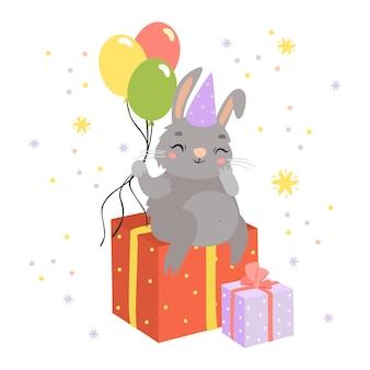 Słodki króliczek z prezentami i balonami