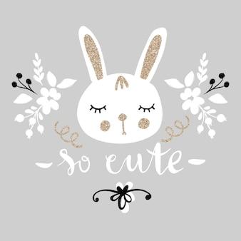 Słodki króliczek. zabawna ilustracja śliczny królik ze złotym brokatem.