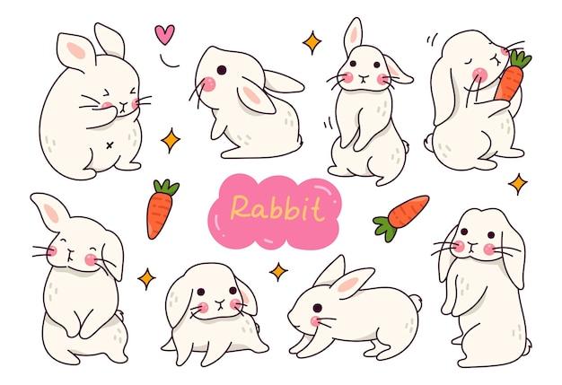 Słodki królik kreskówka zestaw doodle