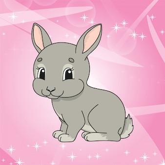 Słodki królik na błyszczącym różu