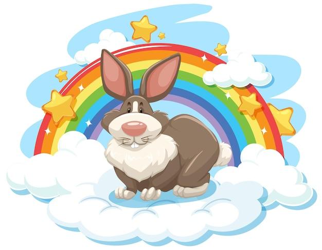 Słodki królik na chmurze z tęczą