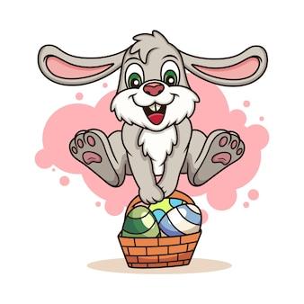 Słodki Królik Przynosi Jajka. Ikona Ilustracja Kreskówka. Koncepcja Ikona Zwierząt Na Białym Tle Premium Wektorów