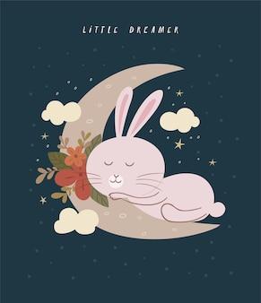 Słodki królik śpiący na półksiężycu