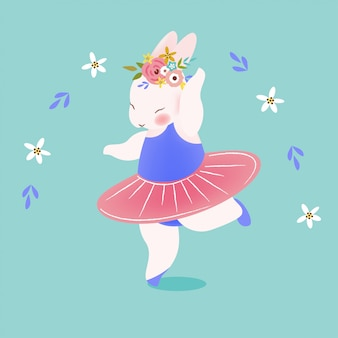 Słodki królik, taniec baleriny króliczka