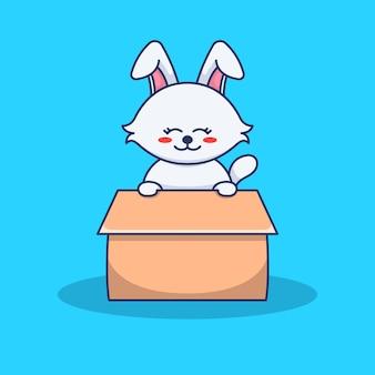 Słodki królik wewnątrz ilustracji pudełka