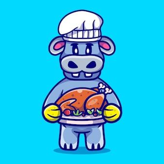 Słodki kucharz hipopotam świętuje święto dziękczynienia