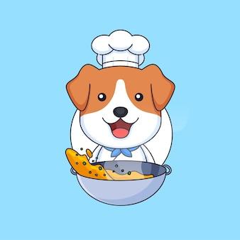 Słodki kucharz szczeniak pies gotowania uliczne jedzenie używać patelni zwierząt maskotka kreskówka wektor ilustracja