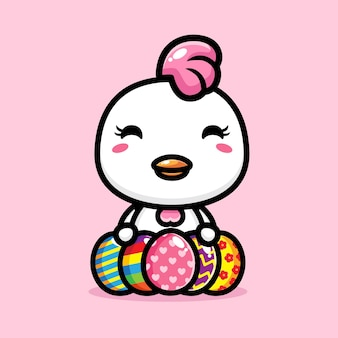 Słodki kurczak z wesołą dekoracją pisanki
