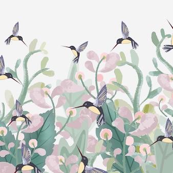 Słodki kwiat z zielonym liściem i kolibrem.