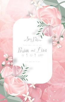 Słodki kwiatowy wzór karty ślubu