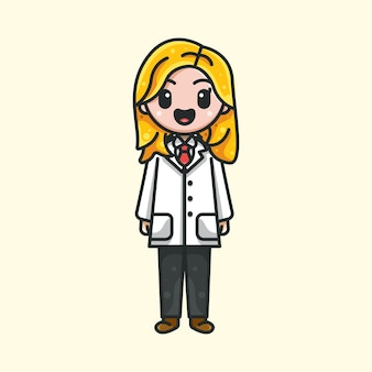 Słodki lekarz dla naklejki z logo i ilustracji icon charakter