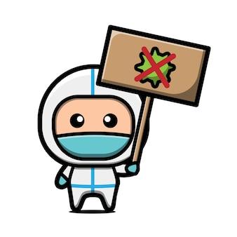 Słodki lekarz walczy z ilustracją wirusa