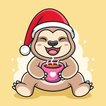 Słodki leniwiec z filiżanką kawy kreskówka.