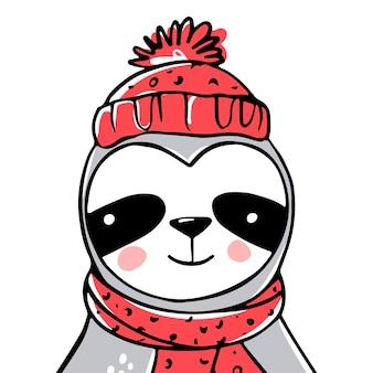Słodki leniwiec z szalikiem i czapką. doodle, styl szkicu. boże narodzenie kartkę z życzeniami. zabawny charakter zwierząt, leniwe święta.