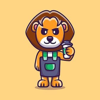 Słodki lew barista trzymający kawę