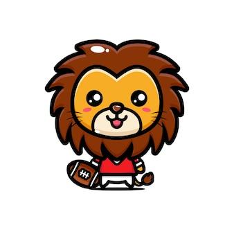 Słodki lew jest gotowy do gry w futbol amerykański
