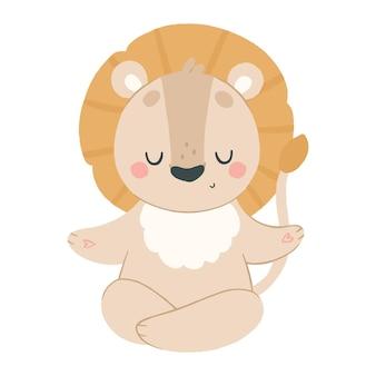 Słodki lew medytuje w pozycji lotosu, joga zwierząt