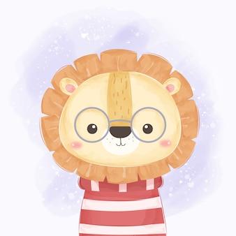 Słodki lew nosi okulary