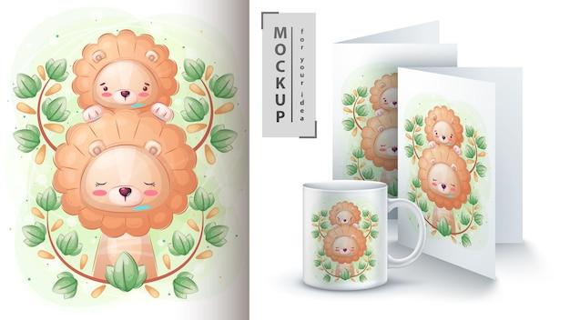 Słodki lew z plakatem dla dzieci i merchandisingiem