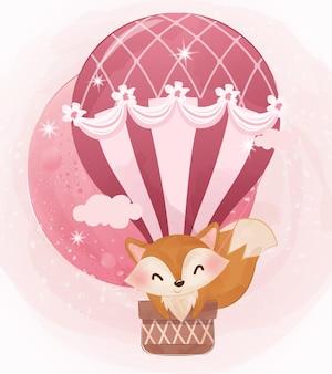 Słodki lis dziecko leci balonem