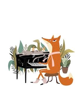 Słodki lis gra na pianinie lis gra na instrumencie muzycznym z pianinem