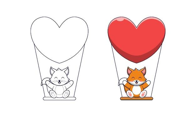 Słodki lis grający na huśtawce kreskówka kolorowanki dla dzieci