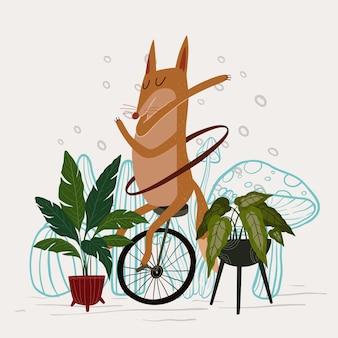 Słodki lis grający taniec hula-hoop z ilustracją wektorową unicycle
