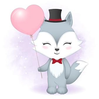 Słodki lis i balon walentynki ilustracja