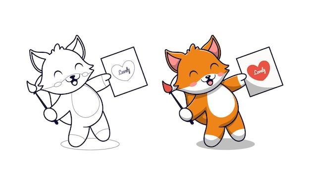 Słodki lis rysuje kreskówkowe kolorowanki dla dzieci