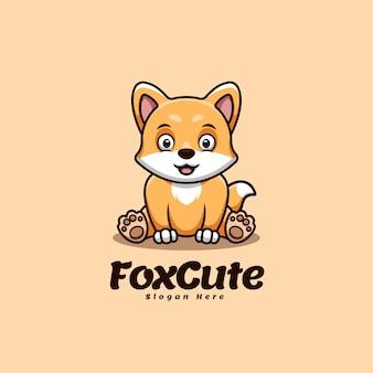 Słodki lis siedzący kreskówka kawaii kreatywne logo maskotki