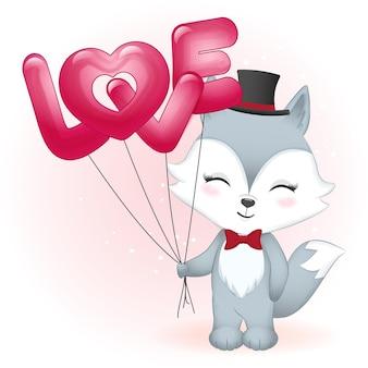 Słodki lis trzyma miłość balony walentynki ilustracja