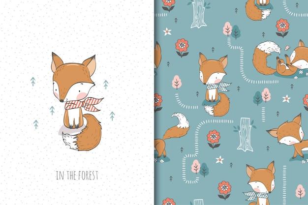 Słodki lis z szalikiem, postać z kreskówki leśnych zwierząt. zestaw ilustracji i wzorów