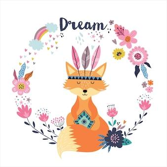 """Słodki lisek boho, kwiaty i tęcza z napisem """"dream""""."""