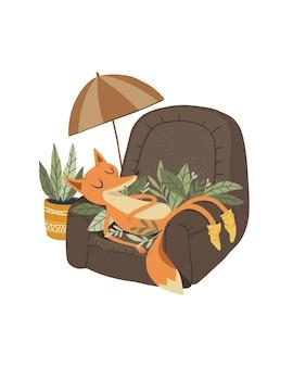 Słodki lisek śpi spokojnie na swoim krześle