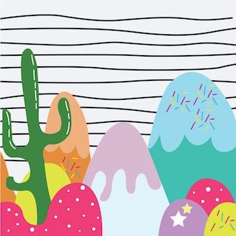 Słodki lody z kaktusowym tłem