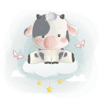 Słodki mały cielę siedzący na chmurze