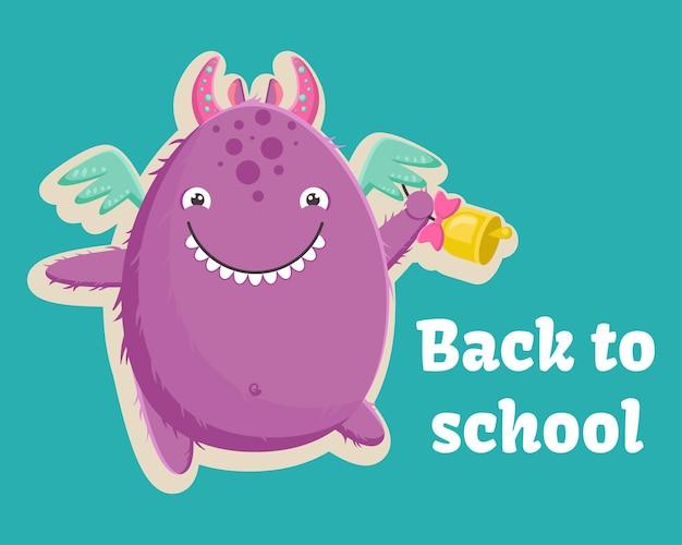 Słodki mały fioletowy potwór jest gotowy na pierwszy dzień szkoły z dzwonkiem w łapie. ilustracja wektorowa. szablon na turkusowym tle