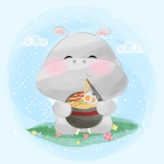 Słodki mały hipopotam jedz ramen makaron