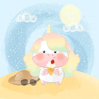 Słodki mały jednorożec i szczęśliwy letni dzień