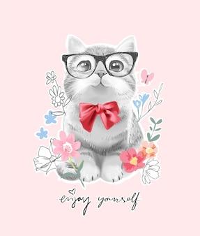 Słodki mały kot z czerwoną muszką i ilustracją kolorowych kwiatów