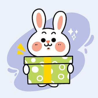 Słodki mały króliczek dając prezent doodle ilustracja