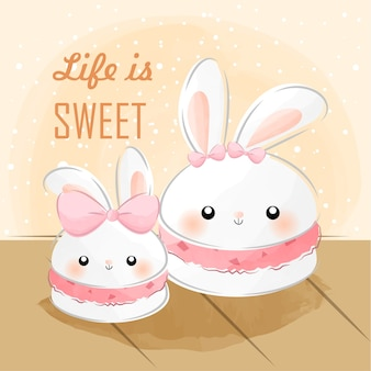 Słodki mały króliczek makaronik