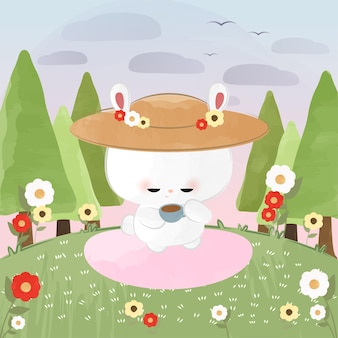 Słodki mały króliczek pora na herbatę w słoneczny dzień