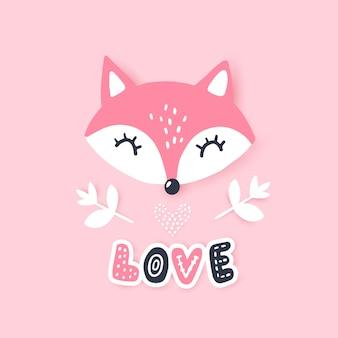 Słodki mały lis. ilustracja zwierząt. ręcznie rysowane kreskówka lis.