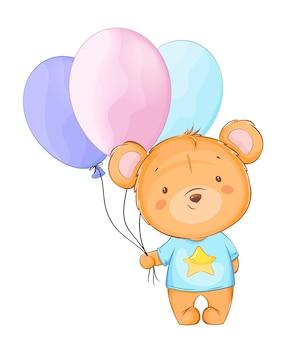 Słodki mały miś trzyma kolorowe balony